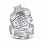 Saris And Things Sterling Silver His Hers Round Diamond Matching Wedding Set 3/8