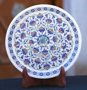Antique Marble Round Serving Plate Semi Mosaic Lapis Inlay Marquetry Decor H1954