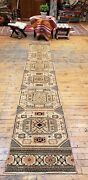 Beautiful Antique 1930-1940s Wool Pilevegy Dyes Bunyan Runner Rug 1and0398andtimes9and0398