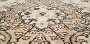 Bohemian Antique 1940s Distressed Wool Pile Muted Dye Oushak Area Rug 5and0394andtimes8and0392