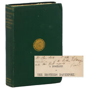 Inscribed Book Presentation Copy The Brothers Davenport 19th C Magicians Houdini