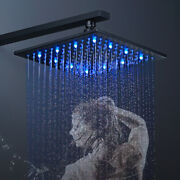 Matte Black 12 Inch Led Rainfall Shower Head Solid Square Top Sprayer