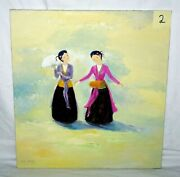 Vietnam Oil Painting Two Ladies Playing Music @ Ceremony By V.p. Hien Brj 2
