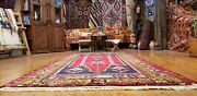 Rare Antique Cr1900-1939s Wool Pile Natural Dye Area Rug Folk-art 4and0395 X 8and0399