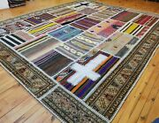 Beautiful Antique Multi-colored Cross Patterned Patchwork Area Rug 8x10ft