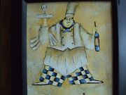 Signed M. Harold Framed Original Oil On Canvas Delightful Fat Chef With Wine