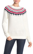 J.crew Fair Isle Pullover Sweater In Rib Knit Trim Ivory/red/navy S M - 80