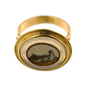 2888 Micro Mosaicroma Second Half Of 19th C. Set In Modern 18k Gold Ring