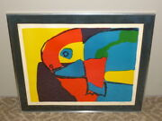 Vtg 1968 Signed Karel Appel Abstract Animal Artistand039s Proof Lithograph Print Art