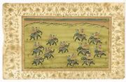 Mughal Miniature Painting King With His Friends Playing Polo Game On Elephant