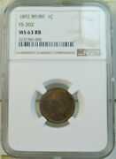 1892 Indian Cent Ngc Ms63rb Fs 302 89/89 Scarce Br