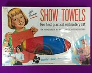 Vintage Stamped Embroidery Kit Play Set Towels Child Sewing Fun And Learn