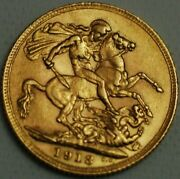Great Britain Gold Sovereign 1913 London Mint George V Km820 R582l