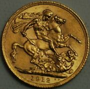 Great Britain Gold Sovereign 1912 London Mint George V Km820 R282-l