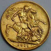 Great Britain Gold Sovereign 1911 George V London Mint Km 820 R481-l