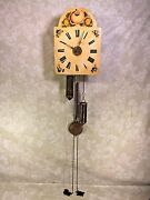 Vintage Painted Wood Wag On Wall Clock With Unique Pointed Bottom Weights Runs