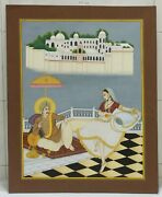 India Miniature Painting Udaipur King Watching Lady Dance View Of Lake Palace
