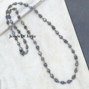 Natural Rose Cut Pave Diamond And Labradorite 925 Sterling Silver Necklace Jewelry