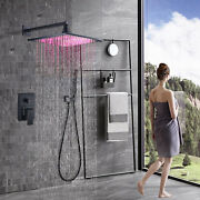 12 Inch Led Rain Shower Faucet Combo Set Wall Mounted With Handheld Shower Mixer