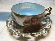 Vtg Royal Sealy Japan Gold Iridescent China 3 Footed Teacup And Reticulated Saucer