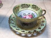 Vtg Royal Sealy Japan Yellow And Gold China 3 Footed Teacup And Reticulated Saucer