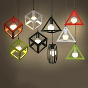 Nordic Loft Cage Pendant Lamps Vintage Pyramid Iron Industrial Hanging Lights