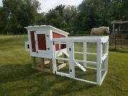 3'x7'x56 Wooden Chicken Coop Hutch And Pen Enclosure Run Fits 3-5 Hens Painted