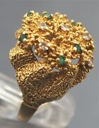 Diamond And Emerald Womens Vintage Ring 18ct Yellow Gold Gold Fine Jewelry Size M
