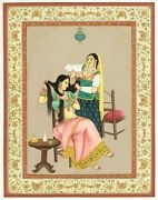 Indian Miniature Painting Queen Is Brushing Her Hair With The Help Of Dassi