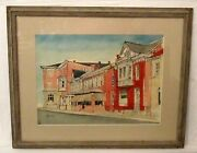 Vintage Watercolor Painting Signed Haller Architectural Buildings City Scape