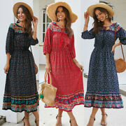 Women Floral Print O Neck Long Sleeve Dress Long Maxi Clothes Travel Party New