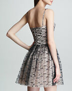 1675 Authentic Rare Red Valentino Women's Black On Blush Lace Bustier Dress 42