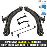 For Nissan Qashqai Front Lower Wishbones Arms Drop Links Track Rod Ends 07 J10