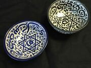Moroccan Hand Painted Arabic Calligraphy And Star Of David Bowls Set Of 2