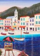 Puerto Cervo- Limited Edition Giclee On Canvas By Fanch Ledan