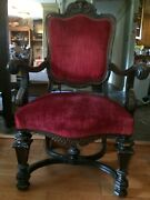 Victorian Jacobean Style Armchair New Upholstery