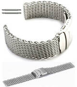 Stainless Steel Shark Mesh Bracelet Watch Band Strap Double Locking Clasp 5030