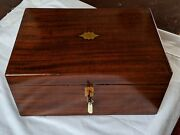 Victorian Mahogany And Brass Conv Jewellery Box Red Leather Envolp And 3 Trays 33cm