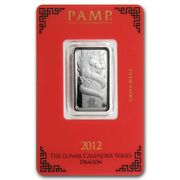 Pamp Suisse Lunar Year Of The Dragon 2012 10 G Gram .999 Silver Bar In Assay