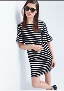 New J.crew Ruffled Bell Sleeve Shift Dress In Stripe Size S F0160 Sold Out