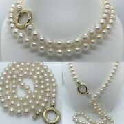 Opera Length 9 X 8.5 Mm Saltwater Akoya Pearl Strand 14k Gold 32 Necklace