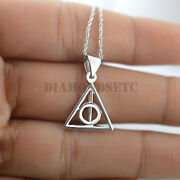 Harry Potter Like Deathly Hallows 925 Sterling Silver Pendant Necklace