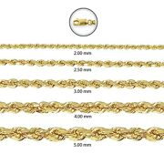 10k Yellow Gold Rope Chain Necklace Bracelet 2mm-5mm Mens Women 16- 28