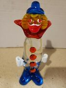 Vintage Murano Colorful Glass Clown With Big Blue Shoes. 7 Tall.
