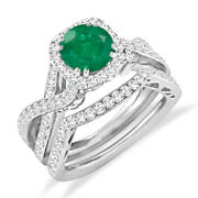 Emerald Green 14k White Gold Finish 925 Sterling Silver Engagement Bridal Rings