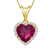1.40 Ct Heart Shape 14k Yellow Gold Finish Sterling Silver Red Womenand039s Pendants