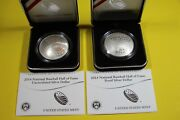 2014 Us Mint Baseball Hall Of Fame Silver Dollars W/boxes And Coas 2 Coin Set