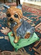 Vintage Ceramic Yorkie Dog On Cushion Made In Italy