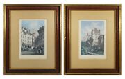 2 Ethan Allen Hand Colored Engravings 19th Ca Views Of Lausanne Switzerland