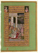 Mughal Painting Mughal Love Scene With Islamic Calligraphy Gold Painting